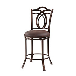 Linon Home Décor Products Calif Metal Brown Traditional Full Back Armless Bar Stool with Brown Faux Leather Seat