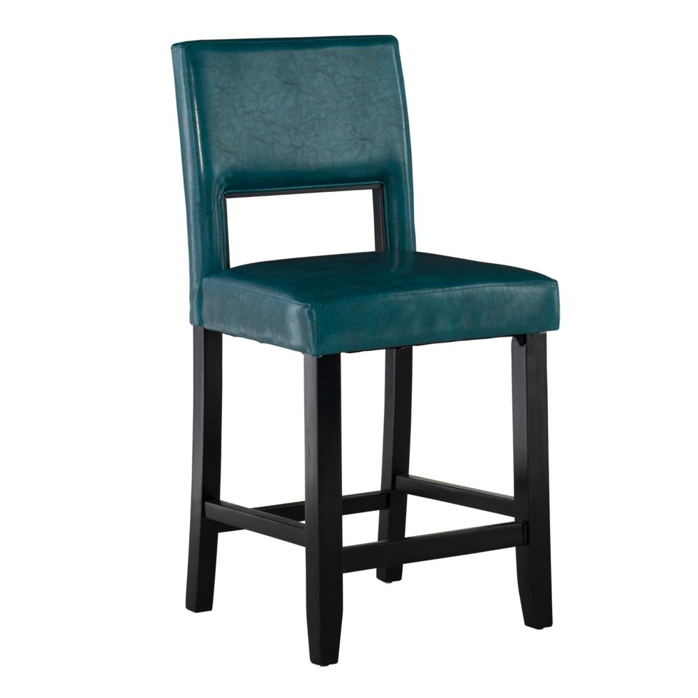 Solid Wood Black Traditional Full Back Armless Bar Stool with Blue Faux Leather Seat