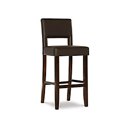 Linon Home Décor Products Solid Wood Espresso Traditional Full Back Armless Bar Stool with Espresso Faux Leather Seat