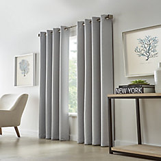 Grey, Diamond Embossed, Woven Blackout, Grommet, 52 Inch X 95 Inch