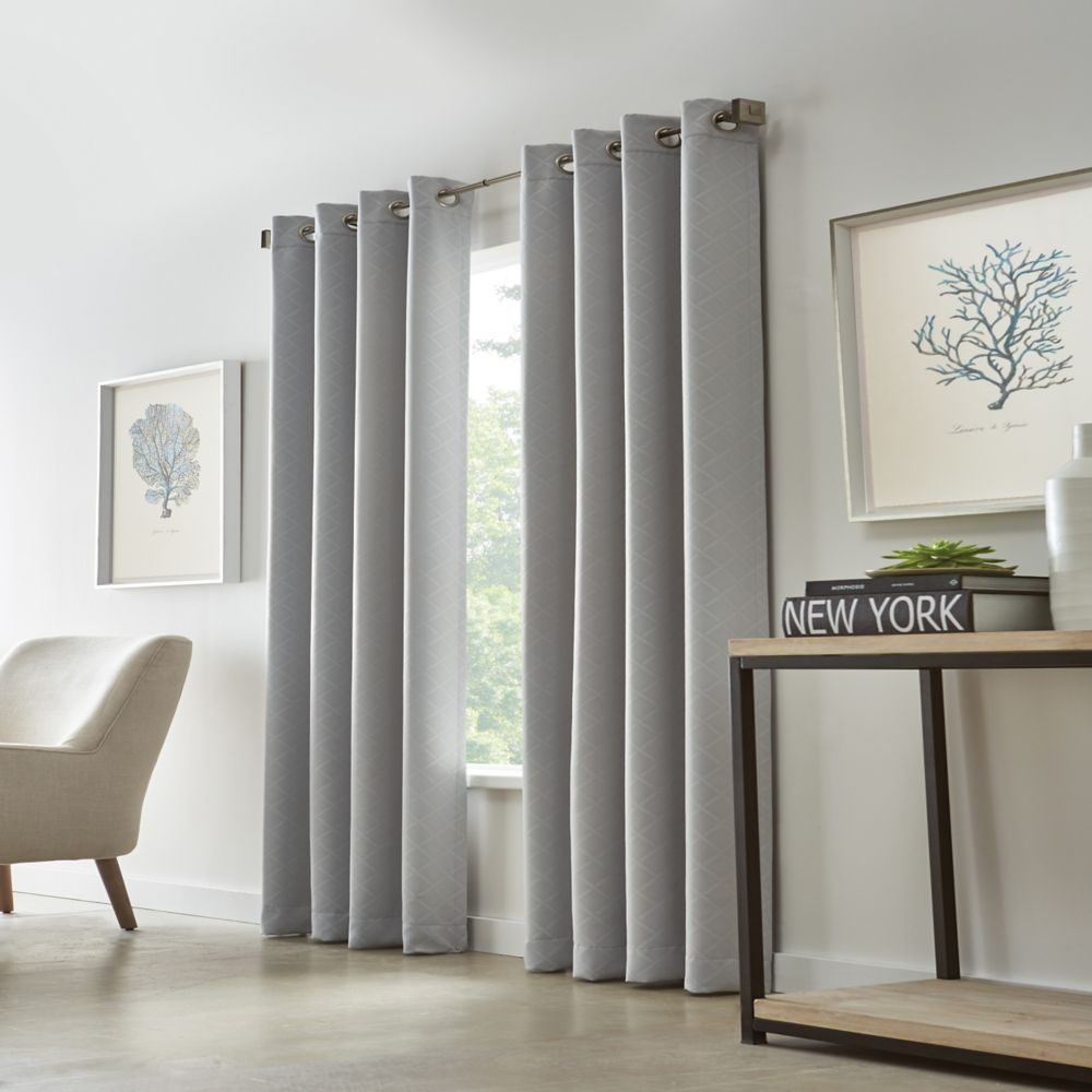 Home Decorators Collection Grey, Diamond Embossed, Woven Blackout, Grommet, 52 Inch X 95 Inch