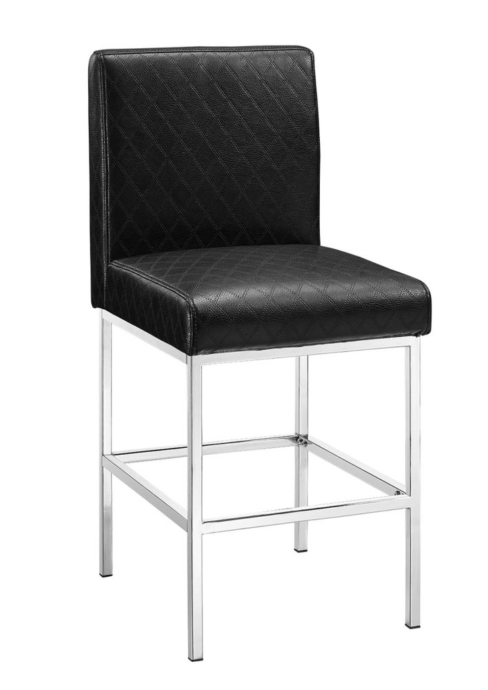 Metal Chrome Modern Full Back Armless Bar Stool with Black Faux Leather Seat
