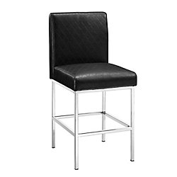 Linon Home Décor Products Metal Chrome Modern Full Back Armless Bar Stool with Black Faux Leather Seat