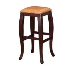 Linon Home Décor Products San Francisco Manufactured Wood Espresso Backless Armless Bar Stool with Brass Faux Leather Seat