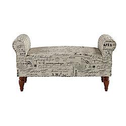 Linon Home Décor Double Rolled Linen Script Arm Bench