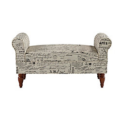 Linon Home Decor Double Rolled Linen Script Arm Bench