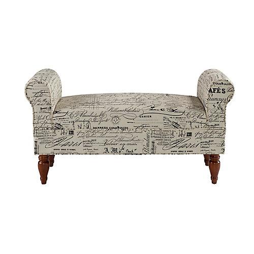 Double Rolled Linen Script Arm Bench