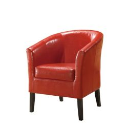 Linon Home Décor Simon Contemporary Faux Leather Accent Chair in Red