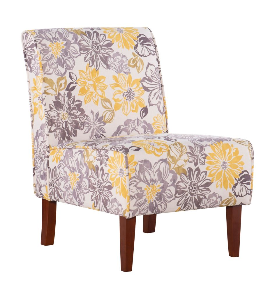 Classic Modern Polyester Blend Armless Accent Chair in Grey