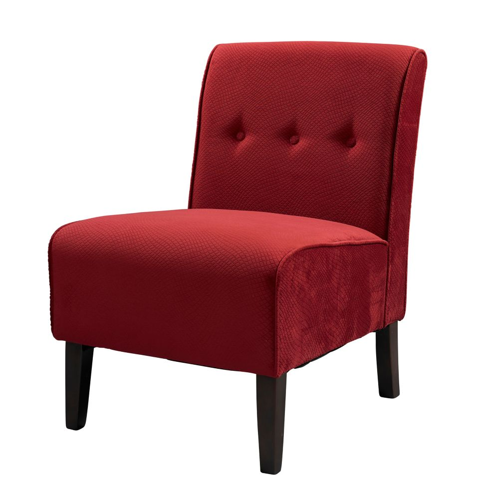 Linon Home Décor Modern Polyester/Polyester Blend Armless Accent Chair in Red