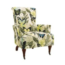 Linon Home Décor Products Traditional Bergère Polyester/Polyester Blend Accent Chair in Yellow with Floral Pattern