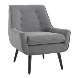 Linon Home Décor Products Modern Occasional Polyester/Polyester Blend Accent Chair in Grey with Solid Pattern