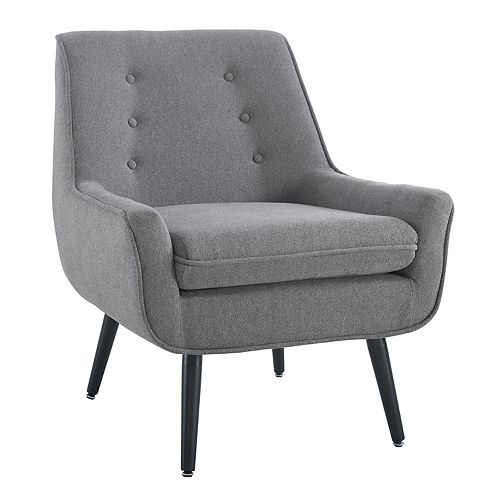 Linon Home Decor Modern Occasional Polyester/Polyester Blend Accent Chair in Grey with Solid Pattern