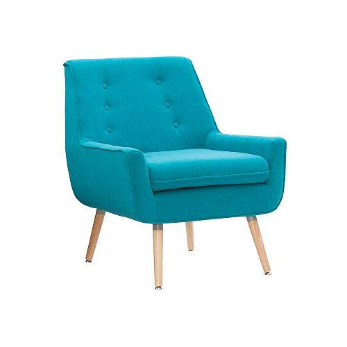 Linon Home Decor Modern Occasional Polyester/Polyester Blend Accent Chair in Blue with Solid Pattern