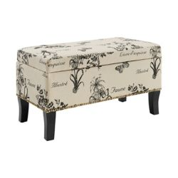 Linon Home Décor Products 32-inch x 18-inch x 16-inch Linen Ottoman in Beige