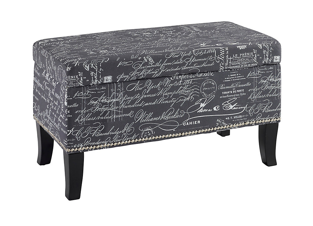 32-inch Storage Ottoman in Grey Linen with Script Writing & Nail Head Design