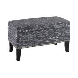 Linon Home Décor Products 32-inch Storage Ottoman in Grey Linen with Script Writing & Nail Head Design