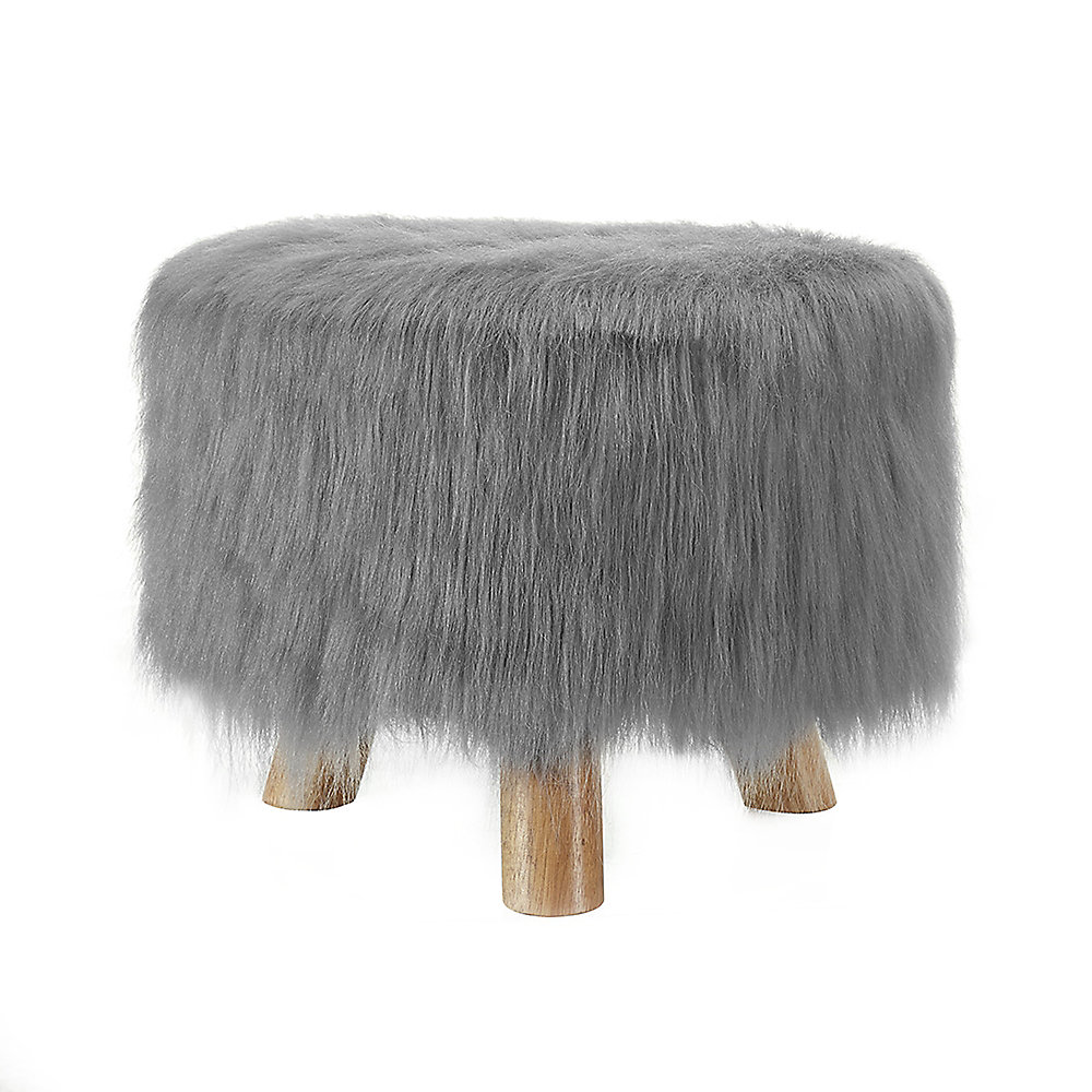 Fun Faux Fur 16-inch x 12.60-inch x 16-inch Polyester/Polyester Blend Ottoman in Grey