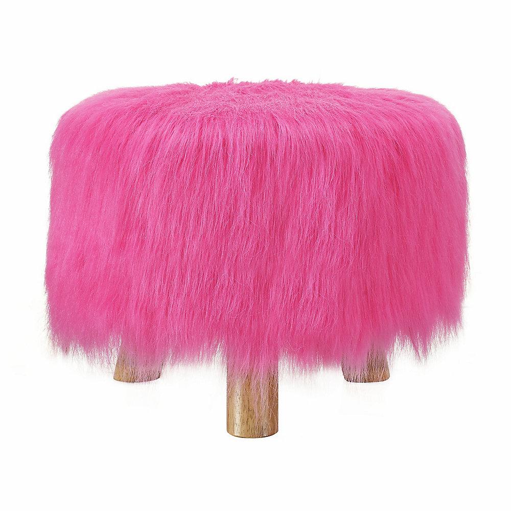 Pouf Fun Faux Fur, 16po x 12,60po x 16po, polyester/mélange de polyester, rose