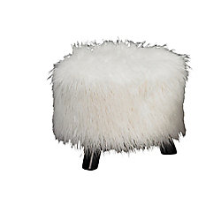 Linon Home Décor Products Fun Faux Fur 16-inch x 12.60-inch x 16-inch Polyester/Polyester Blend Ottoman in White