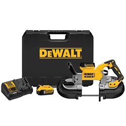 DEWALT 20V MAX XR Li-Ion Cordless Brushless Deep Cut Band Saw Kit with (2) Batteries 5Ah, Charger and Case