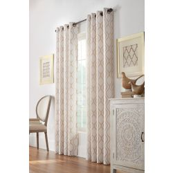 HDC Orleans Light Filtering Grommet Curtain 52 inches width X 108 inches length, Beige