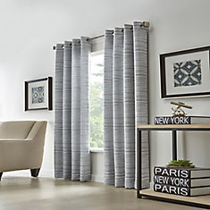 Grey, Marbled Jacquard, Light Filtering, Grommet, 52-inch X 95 Inch