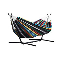 rio night 8 ft  double hammock with stand vivere 8 ft  double hammock with stand in desert moon   the home      rh   homedepot ca
