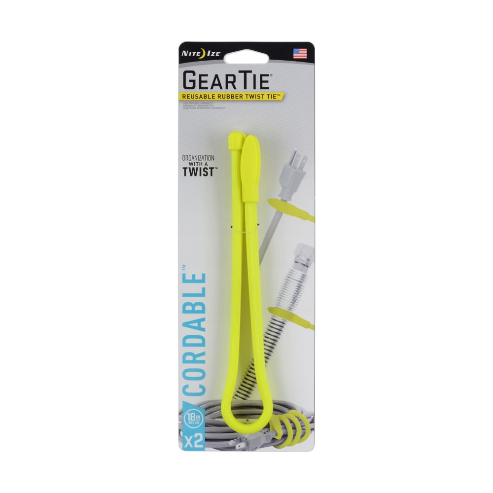 Nite Ize Gear Tie Cordable Twist Tie 18 inch. - Neon Yellow