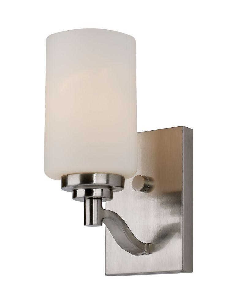 1- Light Brushed Nickel Sconce