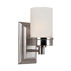 1- Light Brushed Nickel Sconce