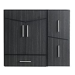 American Imaginations 36-inch W 3-Drawer 2-Door Wall Mounted Vanity in Grey