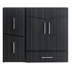 American Imaginations 36-inch W 3-Drawer 2-Door Wall Mounted Vanity in Grey