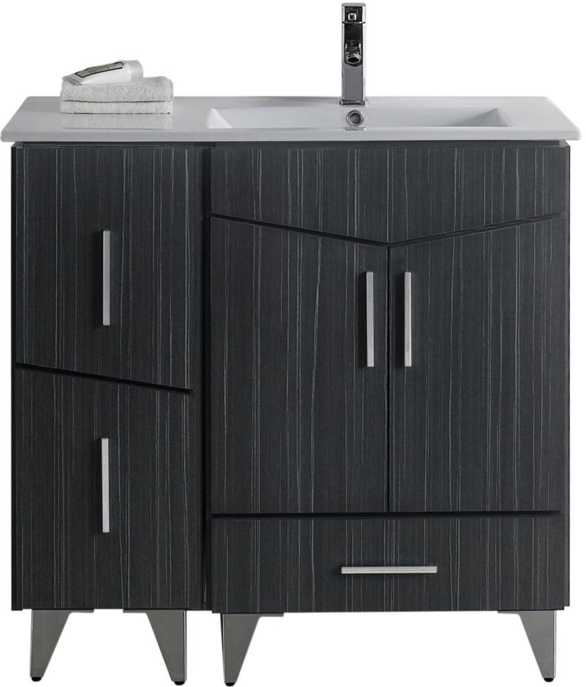 American Imaginations 36-inch W 3-Drawer 2-Door Freestanding Vanity in Grey