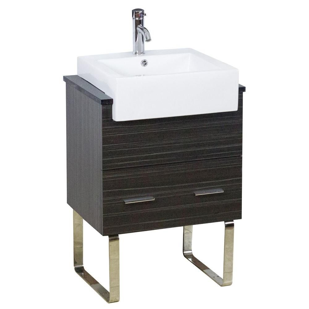 American Imaginations 24-inch W 1-Drawer Freestanding Vanity in Grey With Quartz Top in Black