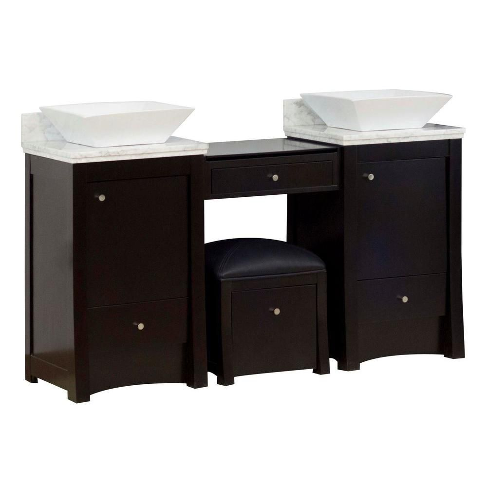 American Imaginations 60-inch W 4-Drawer 2-Door Vanity in Brown With Marble Top in White, Double Basins