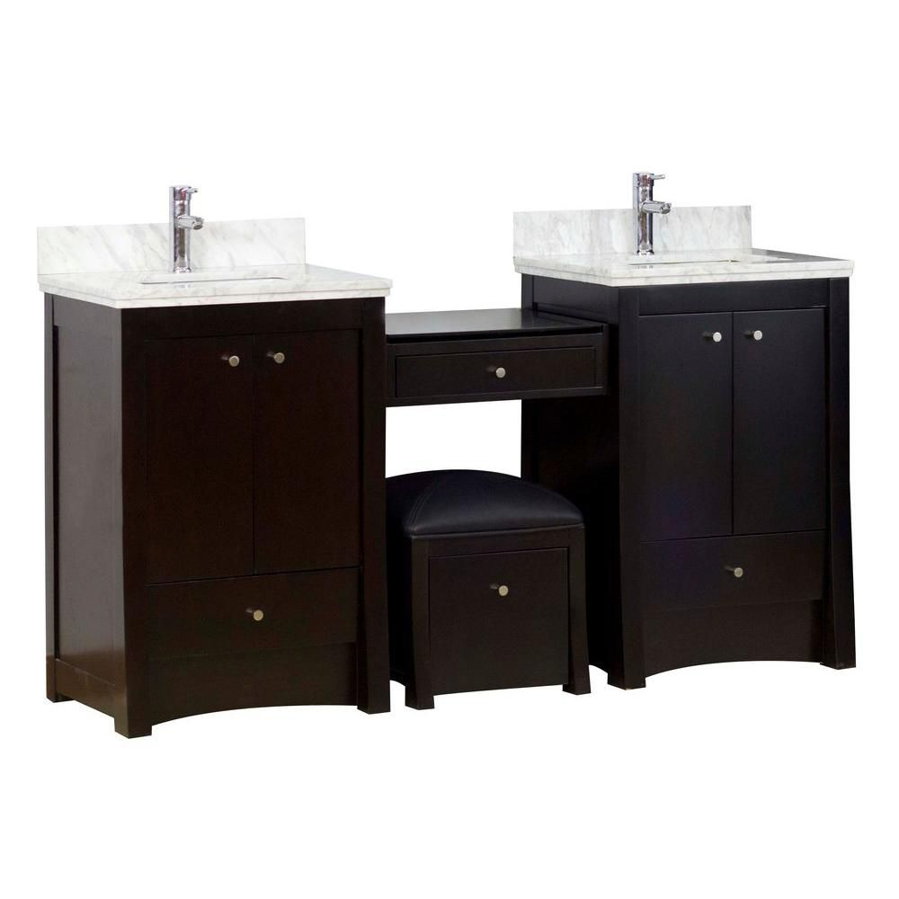 American Imaginations 70-inch W 4-Drawer 4-Door Vanity in Brown With Marble Top in White, Double Basins