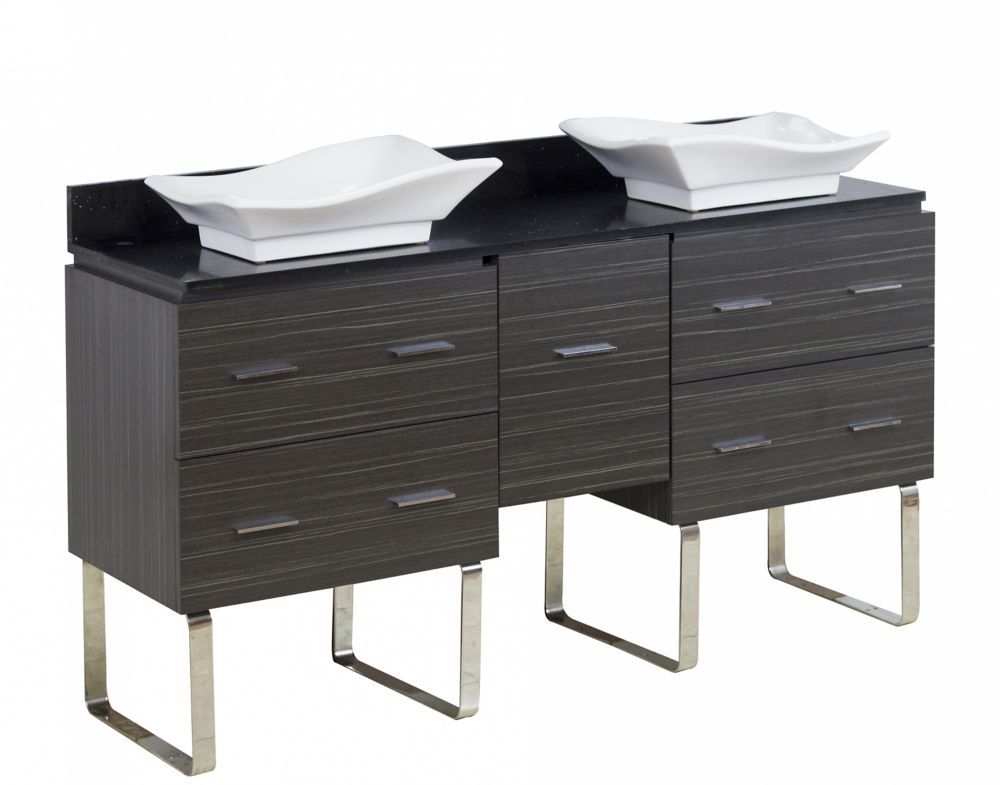 American Imaginations 60-inch W 5-Drawer Freestanding Vanity in Grey With Quartz Top in Black, Double Basins