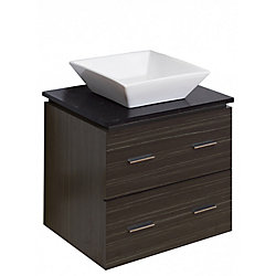 American Imaginations 24-inch W 2-Drawer Wall Mounted Vanity in Grey With Quartz Top in Black