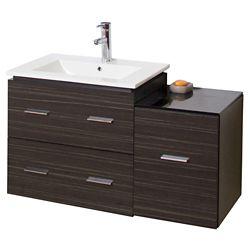 American Imaginations Ensemble de Meuble-lavabo(jeu de vanité)en contreplaqué recouvert de mélamine  de couleur grise orée