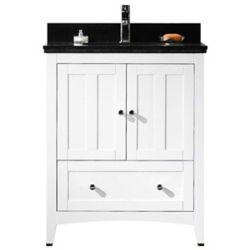 American Imaginations 29.50-inch W 1-Drawer 2-Door Freestanding Vanity in White With Quartz Top in Black