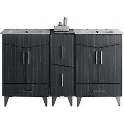 American Imaginations 60-inch W 4-Drawer 4-Door Vanity in Grey With Ceramic Top in White, Double Basins