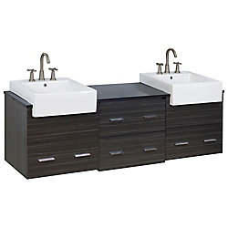 American Imaginations 72-inch W 4-Drawer Wall Mounted Vanity in Grey With Quartz Top in Black, Double Basins