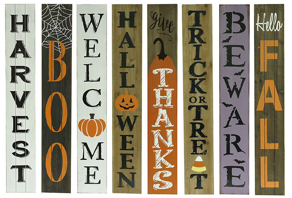Home Accents Harvest 60 Inch Wooden Porch Sign Holiday Decoration
