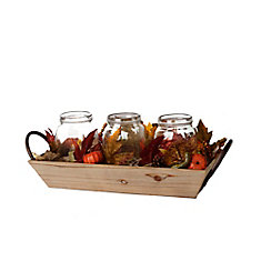Harvest Wooden Tray Centrepiece with LED-Lit Glass Jars
