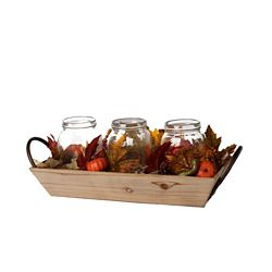 Home Accents Harvest Harvest Wooden Tray Centrepiece with LED-Lit Glass Jars