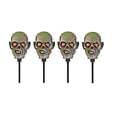 Zombie Head Pathway Lights (4-Pack)