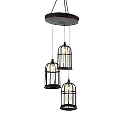 Home Accents Halloween Hanging Cages 3-Light LED Halloween Decoration Pendant Light Fixture with Sound Effects