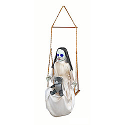 Home Accents Halloween 36-inch LED-Lit Animated Swinging Doll Halloween Decoration