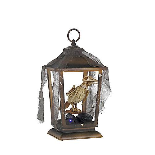 Animated Skeleton Raven in LED Lantern Halloween Decoration